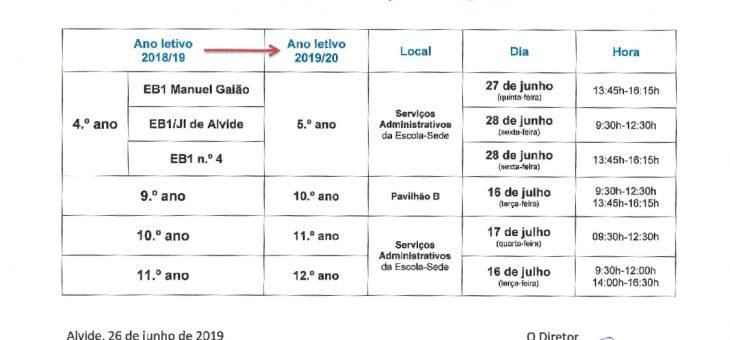 Calendário de Matrículas/Renovação 2019/2020